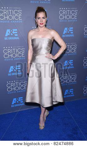 LOS ANGELES - JAN 16:  Amy Adams arrives to the Critics' Choice Awards 2015  on January 16, 2015 in Hollywood, CA