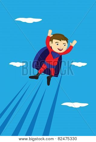 Flying Super Boy Vector Cartoon Illustration