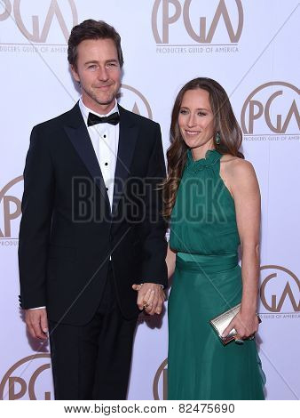 LOS ANGELES - JAN 24:  Edward Norton & Shauna Robertson arrives to the 26th Annual Producers Guild Awards  on January 24, 2015 in Century City, CA