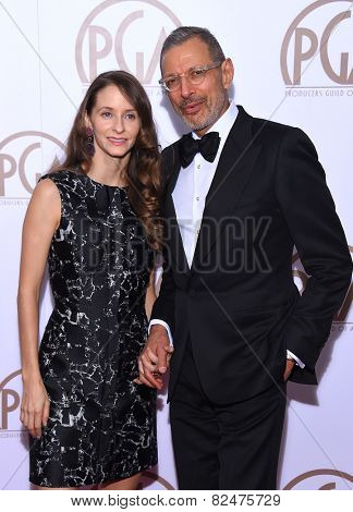 LOS ANGELES - JAN 24:  Jeff Goldblum & Emilie Livingston arrives to the 26th Annual Producers Guild Awards  on January 24, 2015 in Century City, CA
