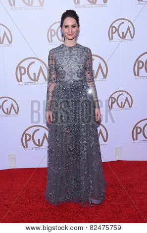 LOS ANGELES - JAN 24:  Felicity Jones arrives to the 26th Annual Producers Guild Awards  on January 24, 2015 in Century City, CA