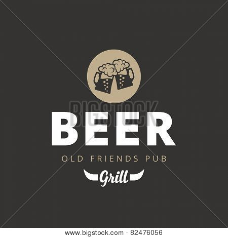 Beer Pub Vintage retro Logo design vector template. Two Mugs with foam icon with typography lettering logotype.
