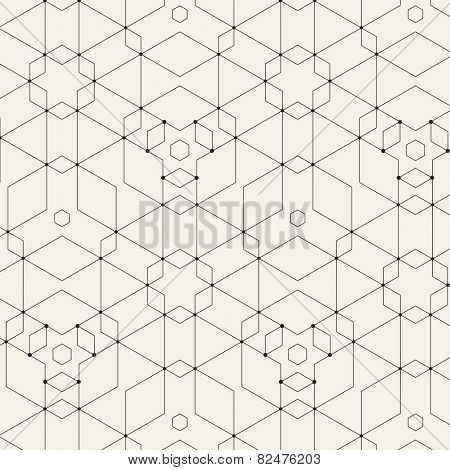 Vector Modern Pattern. Black Techno Repeating Texture. Geometric Pattern Background. Rhombus and Circles in Nodes. Abstract Ornament for Business Design.