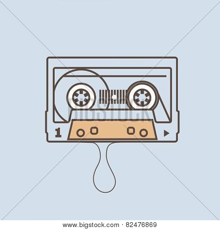 Audio tape. Flat design vector illustration