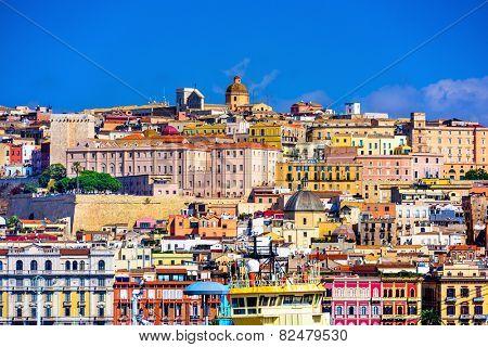 Cagliari, Sardinia, Italy old town skyline.