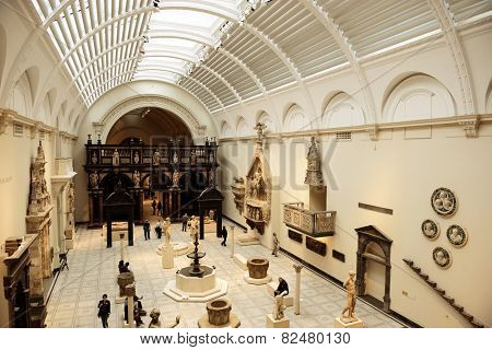 LONDON, UK - SEP 26: Albert and Victoria museum interior on September 26, 2013 in London, UK. London is the world's most visited city and the capital of UK.