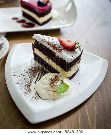Chocolate Cake And Rasberry Cake