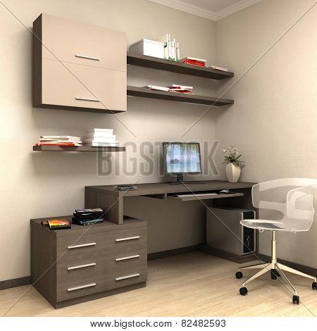 render of home work station