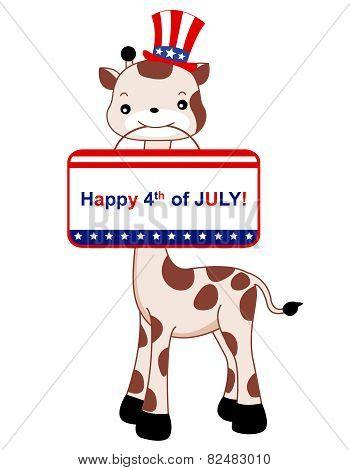 4Th Of July Giraffe Design