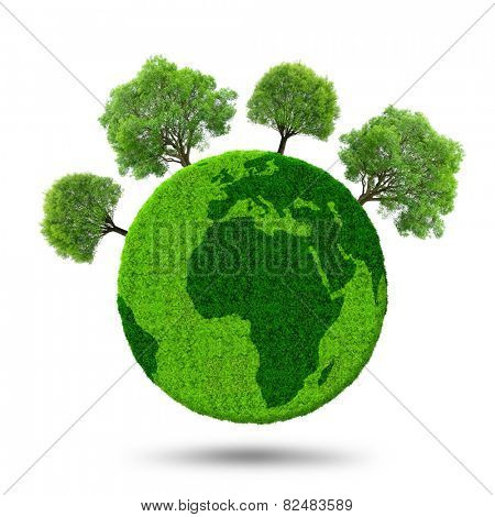 Green planet with trees isolated on white background