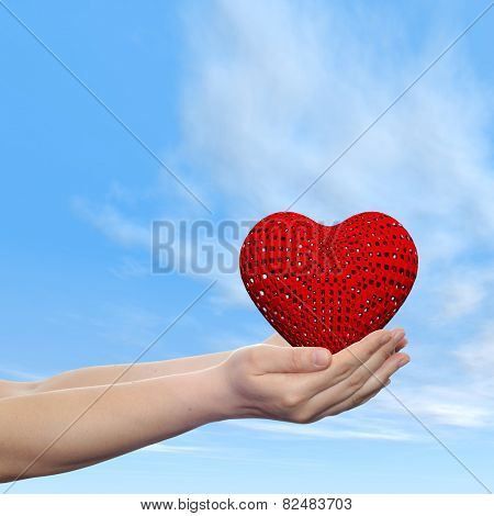 Concept or conceptual 3D red abstract heart sign or symbol held in hands by woman or child over nice blue cloud sky background, metaphor to love, holiday, wedding, care, valentine, protection romantic