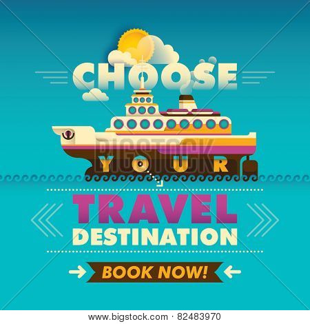 Travel background with cruise ship. Vector illustration.
