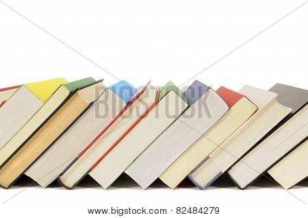 Slanted Row Of Colorful Books