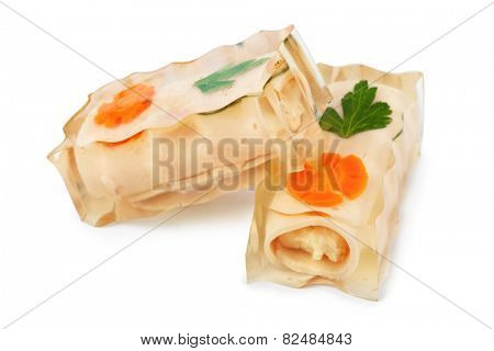 Jellied meat pork isolated on white background