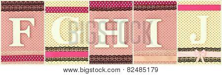 Wooden letters F G H I J on polka dots background