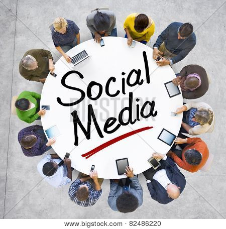 Group of People Holding Hands Around Letter Social Media