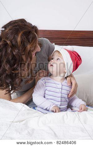 Baby Santa Claus And Mom