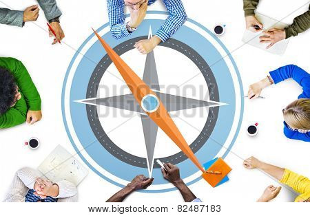Navigation Compass Direction Exploration Guide Journey Concept