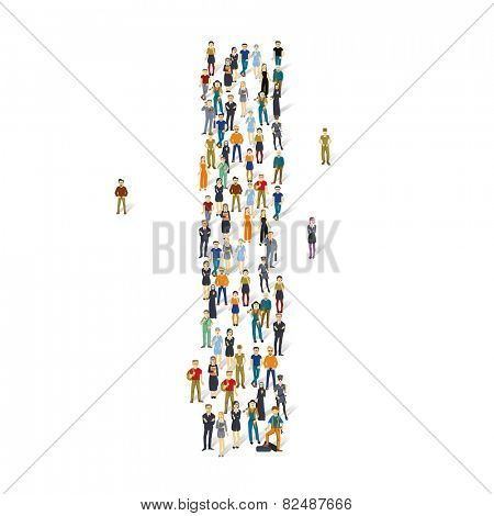 People crowd. Vector ABC, letter I