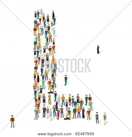 People crowd. Vector ABC, letter L