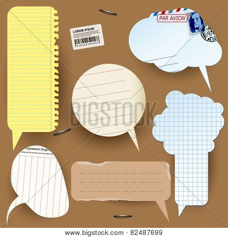 Retro styled paper vector speech bubbles