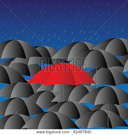 Red Umbrella Against Black Umbrellas,rainy Season