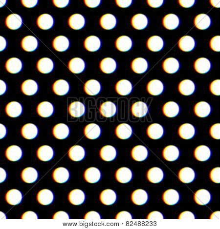 Seamless polka dot pattern with blurred circles and color aberration