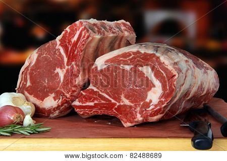 Raw prime rib beef roast in a restaurant.