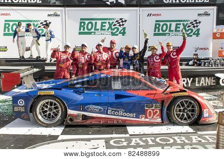 Daytona Beach, FL - Jan 25, 2015:  The Tudor United SportsCar Championship teams take to the track for the Rolex 24 at Daytona International Speedway in Daytona Beach, FL.