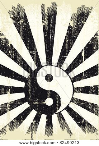 grunge yin yang flag. A grunge background with a yin yang symbol for a publicity