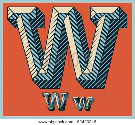 Etched vector font set of engraved letters. Old school beveled alphabet. Character W