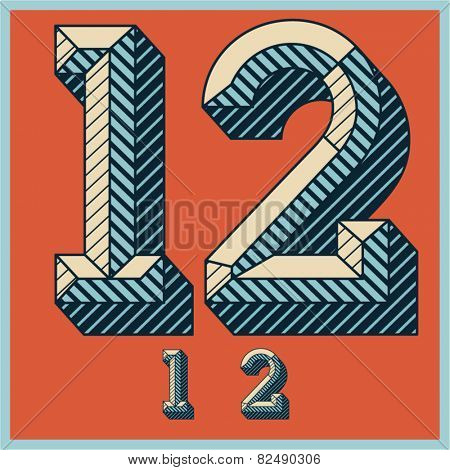 Etched vector font set of engraved letters. Old school beveled alphabet. Numbers 1 2