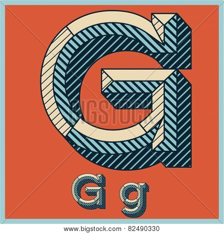 Etched vector font set of engraved letters. Old school beveled alphabet. Character G