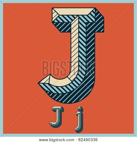 Etched vector font set of engraved letters. Old school beveled alphabet. Character J