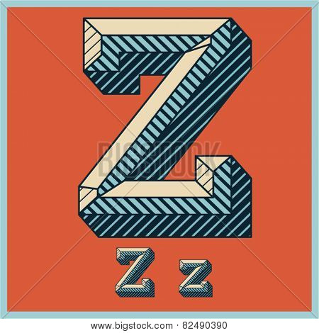 Etched vector font set of engraved letters. Old school beveled alphabet. Character Z