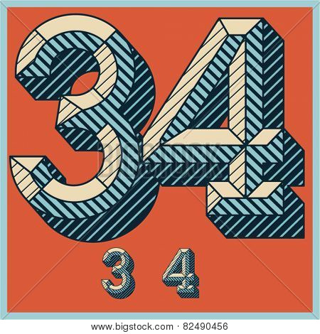 Etched vector font set of engraved letters. Old school beveled alphabet. Numbers 3 4