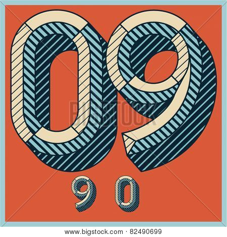 Etched vector font set of engraved letters. Old school beveled alphabet. Numbers 9 0