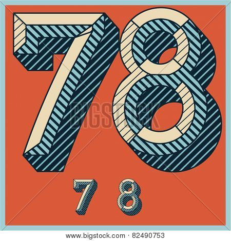 Etched vector font set of engraved letters. Old school beveled alphabet. Numbers 7 8