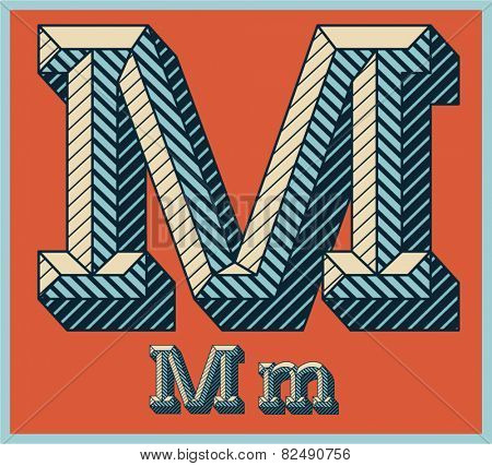 Etched vector font set of engraved letters. Old school beveled alphabet. Character M