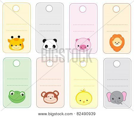 Animal Gift Tags With Cute Animal Faces