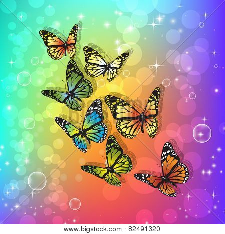 Beautiful butterflies.  Abstract background with gradient. Vector illustration
