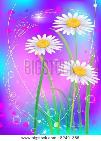 Beautiful camomiles with hearts. Vector of spring background with gradient and radiance.