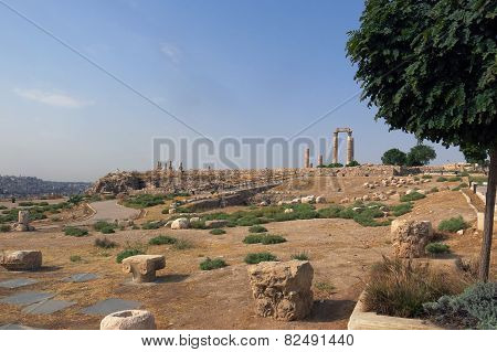 Buildings Of Amman Citadel In National Historic Site In Jordan
