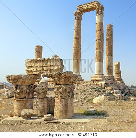 Temple Of Hercules On The Citadel Mountain In Amman