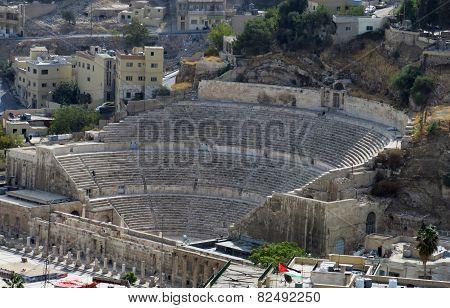 Roman Amphitheatre In Amman Citadel In National Historic Site