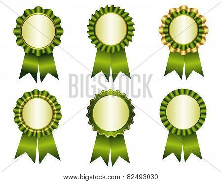 Award Ribbon Rosette Green And Gold