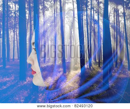 Beautiful Arabic girl with scarf over forest background double exposure