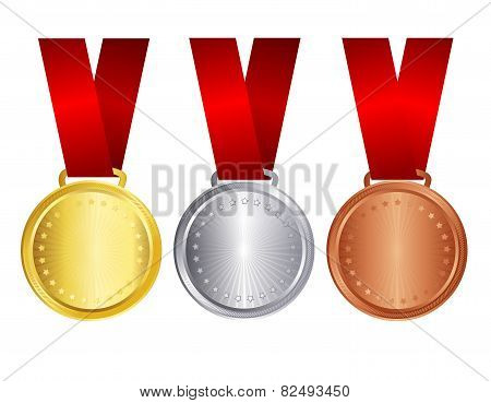 Gold Silver And Bronze Medal With Red Ribbon