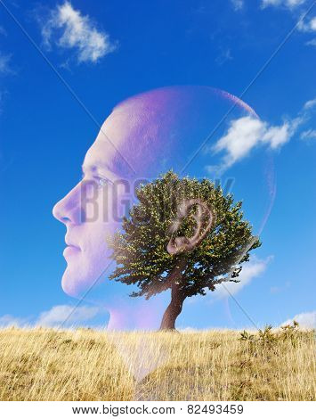 Man and tree on field concept double exposure
