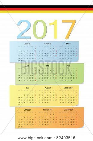German 2017 Vector Color Calendar.